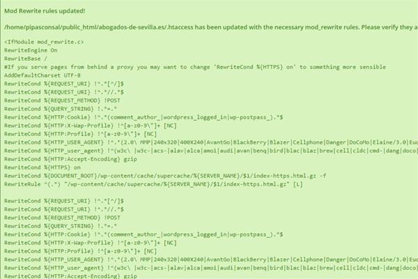 Reglas reescritas del plugins super caché.