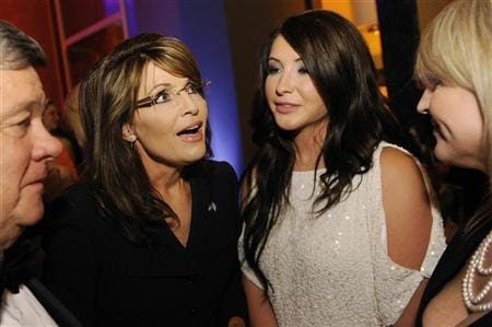 Sarah Palin and daughter Bristol at the MSNBC party after the White House Correspondents Dinner in 2011 (Jonathan Ernst/Reuters)