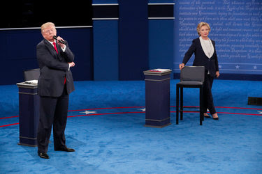 Hillary Clinton and Donald J. Trump during the second presidential debate on Oct. 9 in St. Louis.