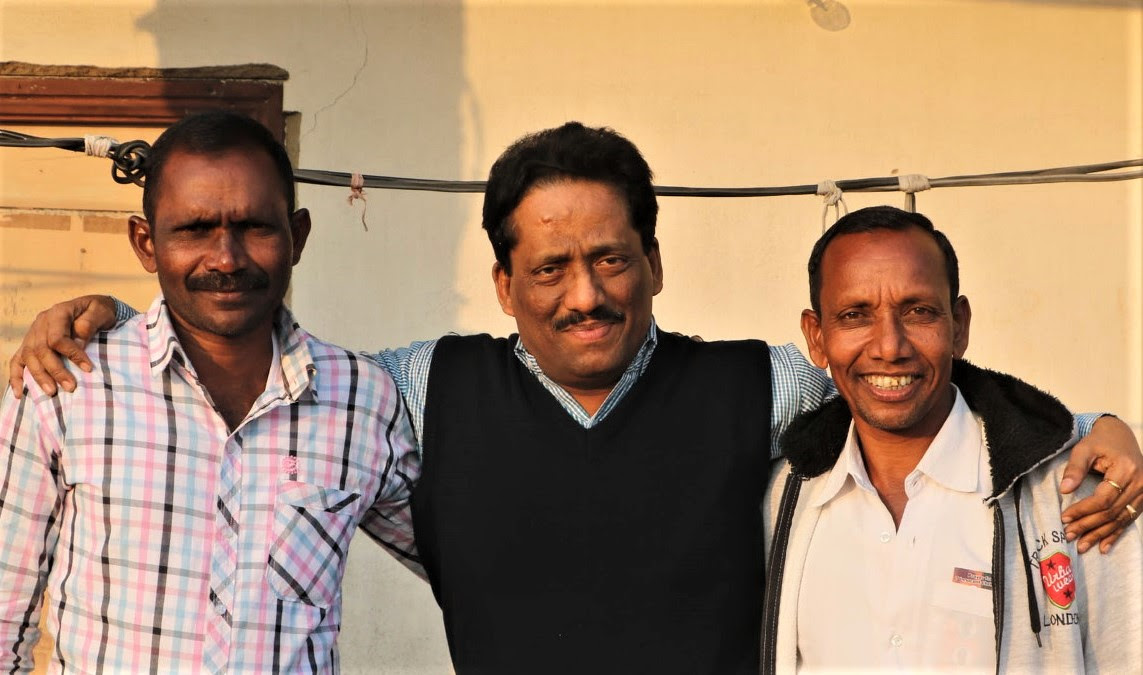 Journalist Anto Akkara with Bijaya Kumar Sanaseth (left) and Gornath Chalanseth. (Morning Star News)