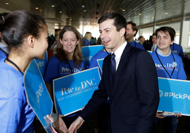 Pete Buttigieg, the mayor of South Bend, Indiana, greets supporters in Baltimore. (Joshua Roberts/Reuters)</p>