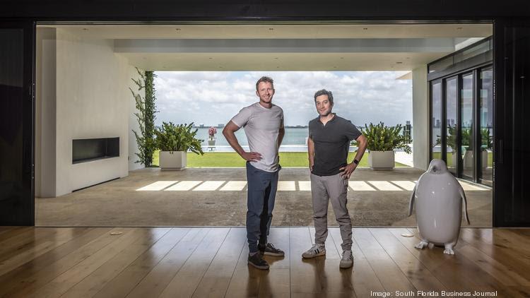 Edward Lando and Jon Oringer, founders of Pareto Holdings, at Oringer's home in Miami Beach.