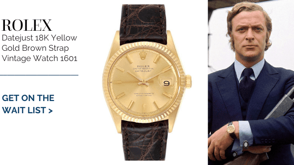 michael caine's Yellow Gold Brown Strap Vintage
