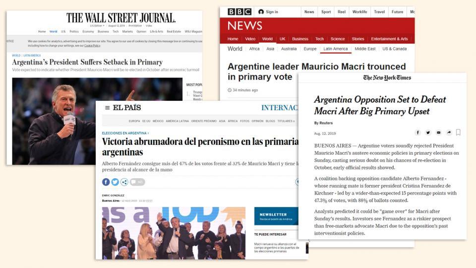 Los diarios extranjeros reflejaron con amplias coberturas los resultados de las elecciones primarias.