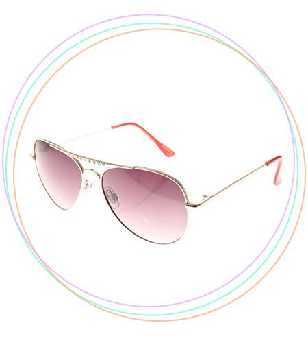 Gold Crystal Aviator Sunglasses