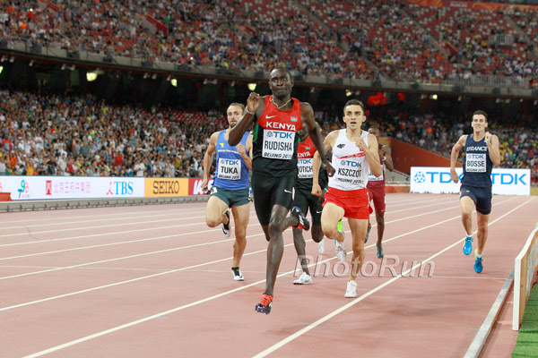 David Rudisha nearing the finish line