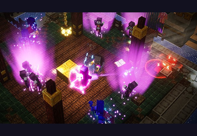 A Gauntlet of Gales challenge in Minecraft Dungeons featuring several Illager mobs attacking the player characters.