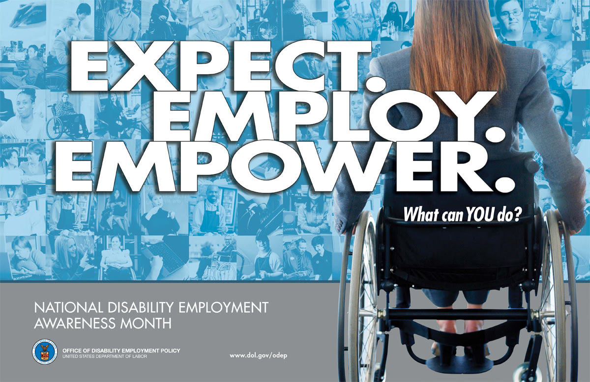 Picture of woman using wheelchair. NDEAM theme is Expect. Employ. Empower