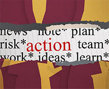 ripped page image wiht words Risk* plan* team* action work* ideas* learn*