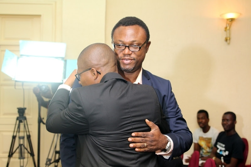 Publisher Yes Magazine  Azu Arinze and Efe Omorogbe in a warm embrace