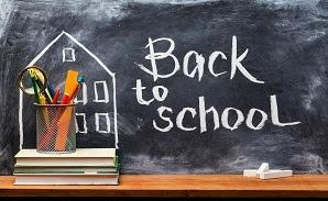 Chalk board with Back to School written on it
