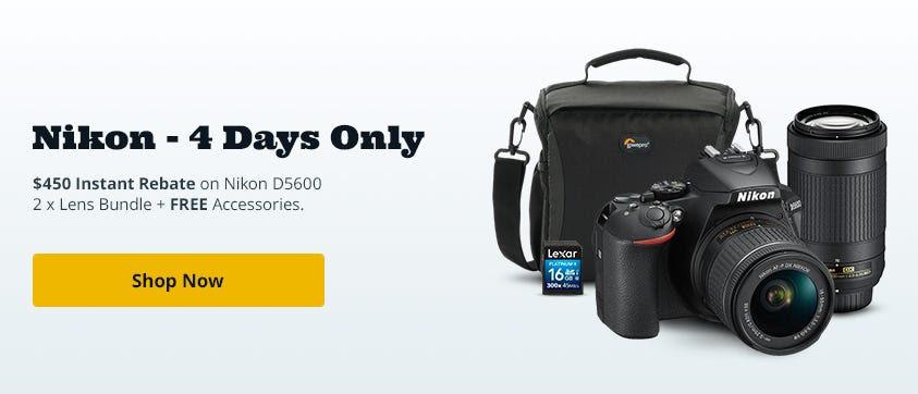 Nikon D5600 DSLR w/18-55mm f/3.5-5.6G VR\70-300/4.5-5.6 Black w/Free Acc Bundle