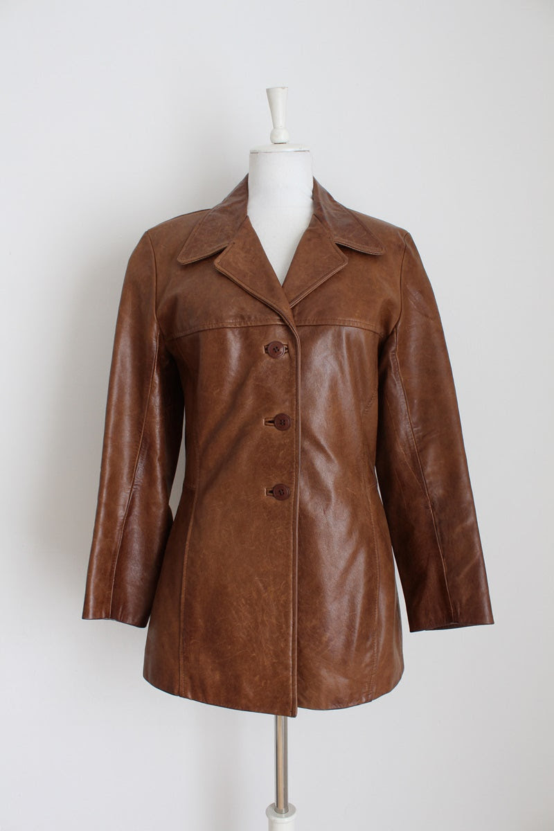 GENUINE LEATHER VINTAGE TAN COAT - SIZE 10
