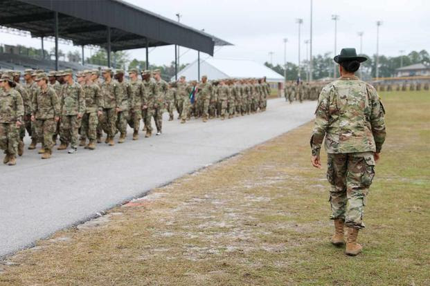 A drill sergeant watches over Basic Combat Training at Fort Jackson.