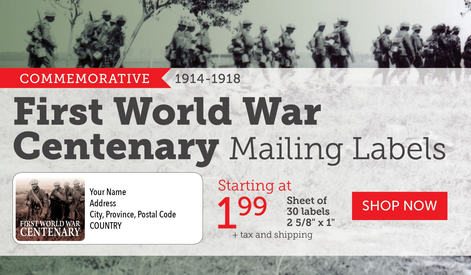 First World War Centenary Mailing Labels Version 3