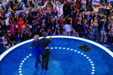 President Obama and Hillary Clinton at the Democratic National Convention in Philadelphia on July 27.