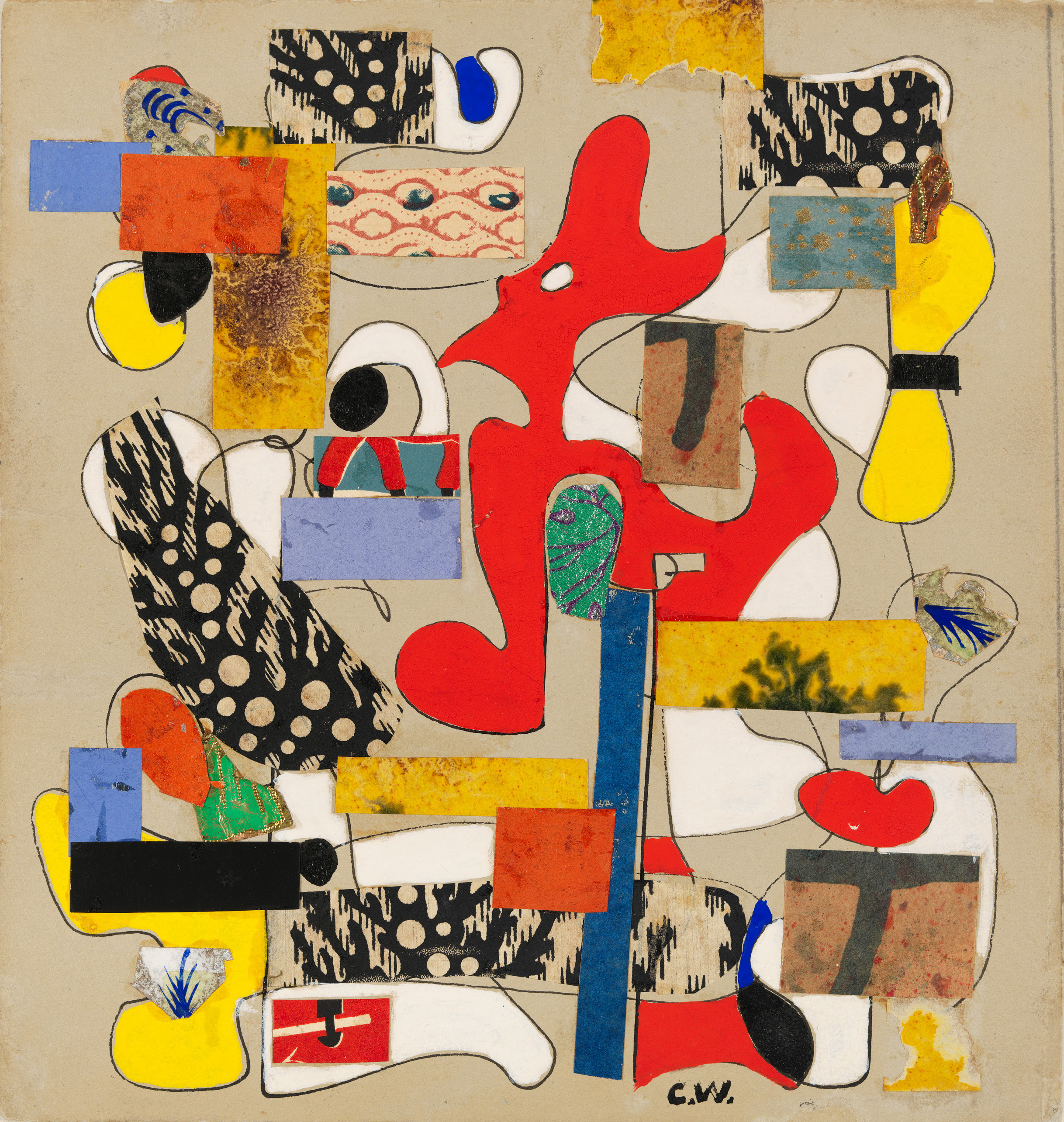 Charmion Von Weigand, Untitled, 1942, Collaged paper, opaque watercolor and pen and ink on paper, 8 1/2 × 8 1/16 in. (21.6 × 20.5 cm).
