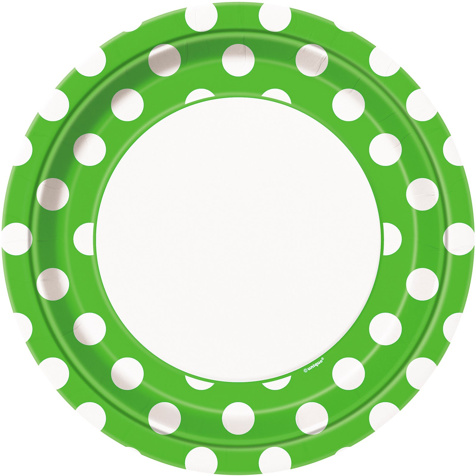 Green and White Polka Dot Plates