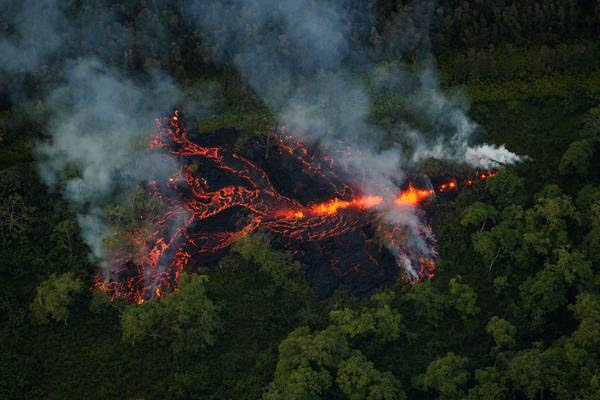 This photo shows a new fissure erupting in a field roughly 1/2 mile east of the Puna Geothermal Venture facility in May. (Bruce Omori/Paradise Helicopters/EPA-EFE/REX/Shutterstock)