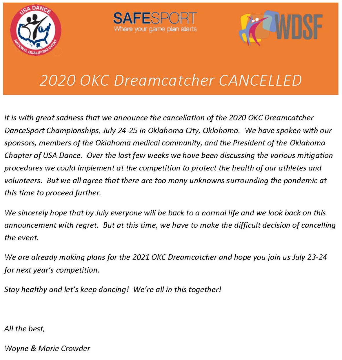 2020 OKC Dreamcatcher CANCELLED