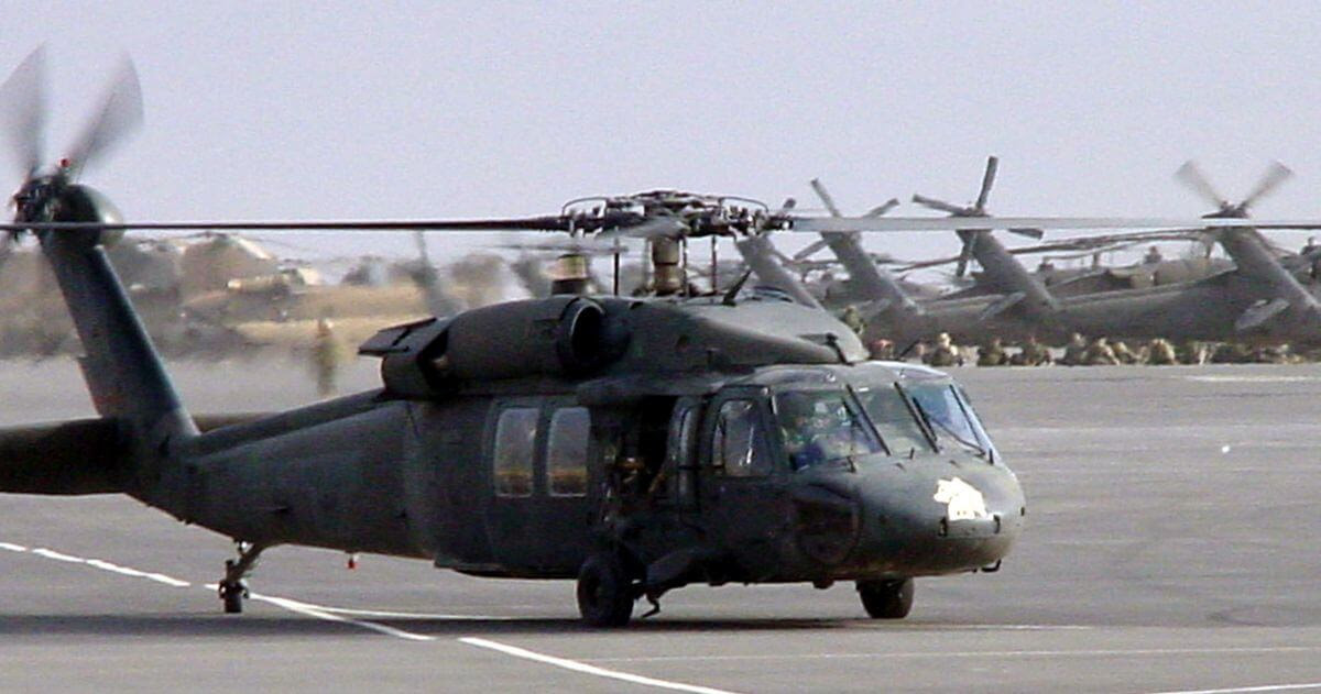 A picture of military helicopters