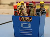 Photo of container of crayons