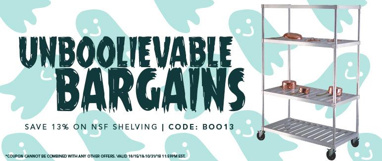 Save 13% on NSF Shelving  - Use code BOO13 (through 10/31)