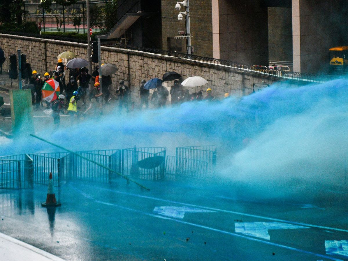 Police using blue dye on prrotestors