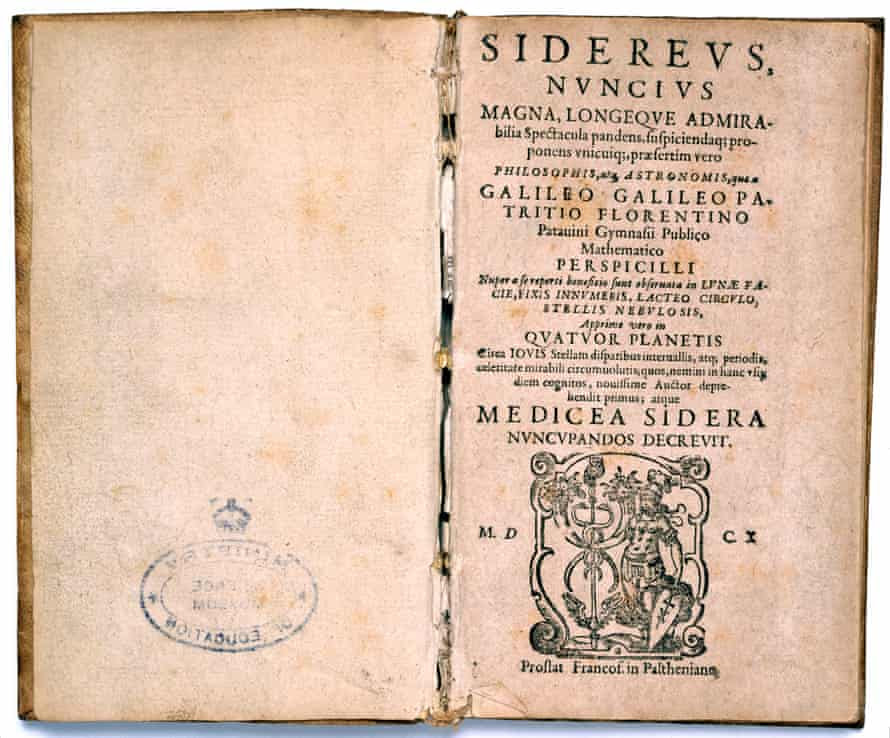 The title page from a copy of Sidereus Nuncius by Galileo Galilei