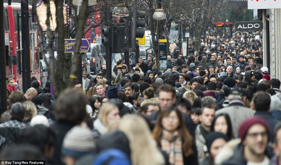 Packed out: Oxford Street appeared almost as busy as it was during the pre-Christmas rush