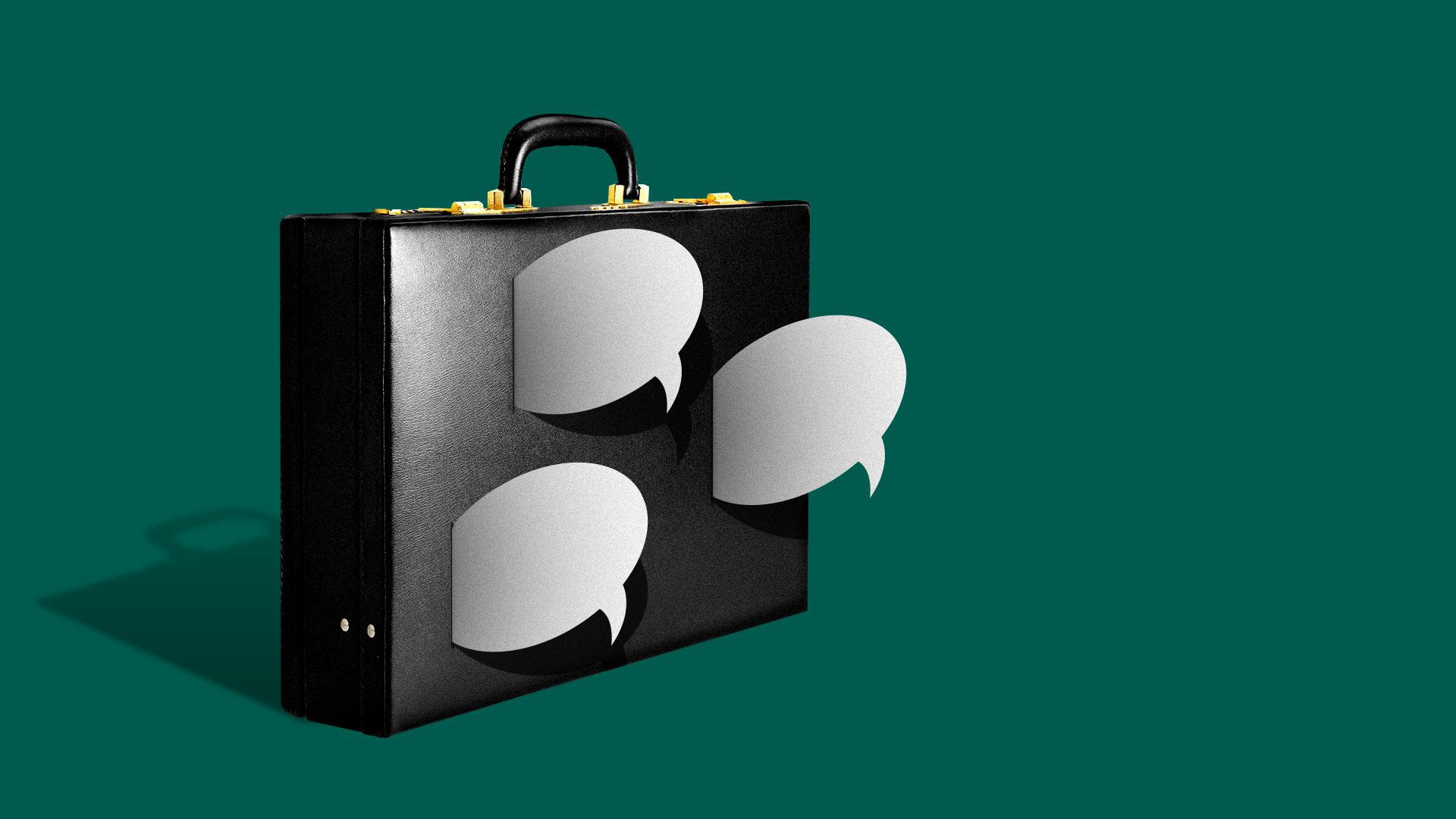 Illustration of a briefcase being pierced by several speech bubbles.