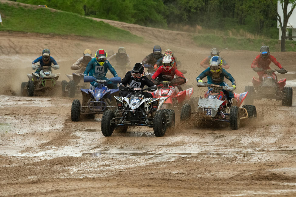Thomas Brown grabbed the moto one holeshot in some very muddy conditions.