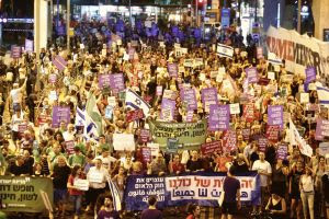 Thousands of Israelis protesting against the passage of the nation-state bill