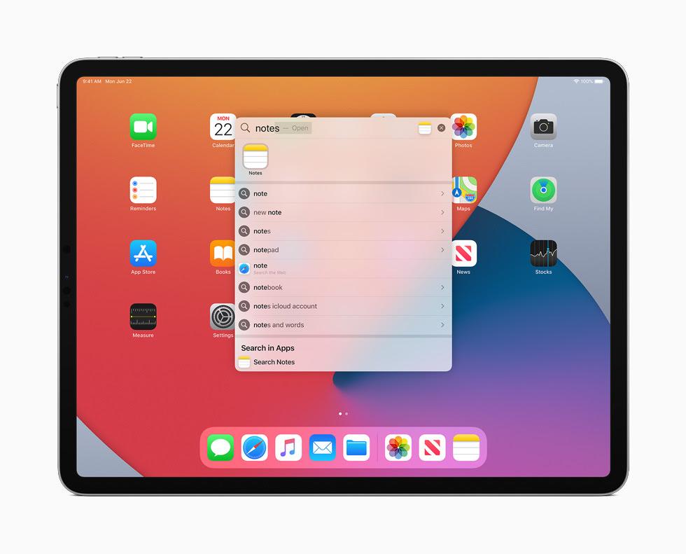 iPad Pro 顯示 iPadOS 14 的全新「搜尋」視窗。