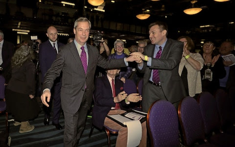 Andrew Dunn meets former Ukip leader Nigel Farage at the Ukip spring conference in Bolton 2017