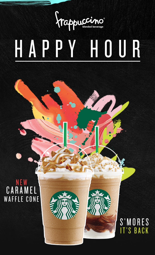 Frappuccion® blended beverage Happy Hour | New Caramel Waffle Cone | S'mores it's Back