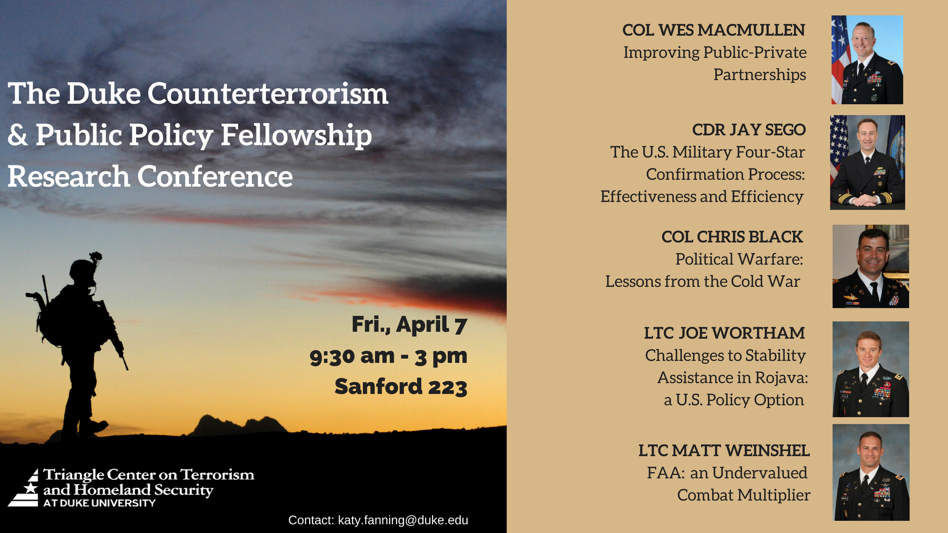 The Counterterrorism & Public Policy Fellowship Research Conference @ Sanford 223, Rhodes Conference Room | Durham | North Carolina | United States