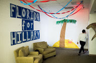 The entrance of Hillary Clinton's campaign office in Tampa, Fla.