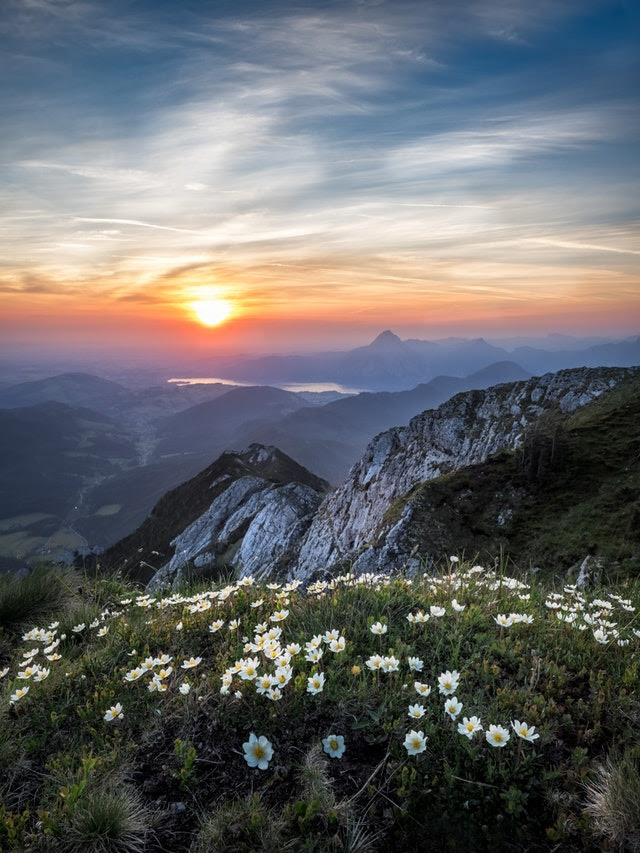 Spectacular view of sunrise in the mountains