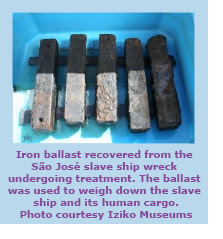 Iron ballast used to weigh down the ship