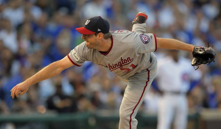 Washington Nationals starting pitcher Max Scherzer during the Chicago Cubs' defeat of the Nationals 2-1 in game 3 of the NLDS. (John McDonnell/The Washington Post)