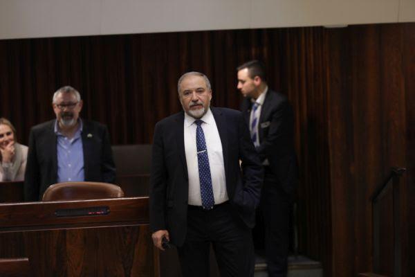 Defense Minister Avigdor Liberman in the Knesset