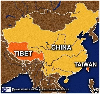China Tibet Taiwan reference map - 3e3
