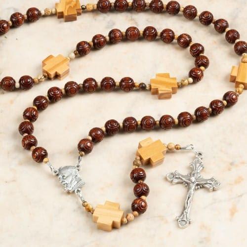 St. Padre Pio Wood Bead Rosary