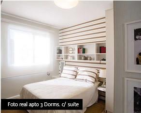 Foto real apto 3 dormitórios com suíte