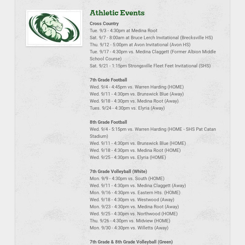Athletic Events Cross Country Tue. 9/3 - 4:30pm at Medina Root Sat. 9/7 - 8:00am at Bruce Lerch...
