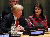 US President Donald Trump and US Ambassador Nikki Haley at the 73rd UNGA, 2018.
