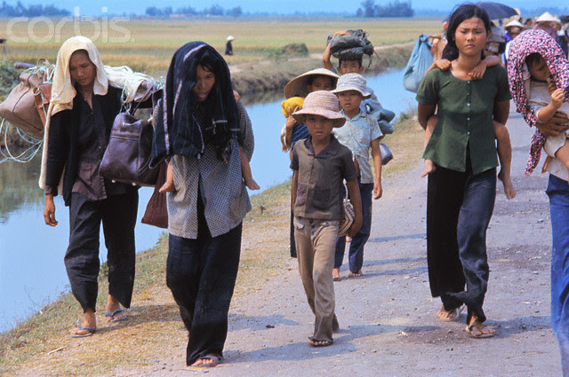 Vietnamese Refugees Fleeing on Foot
