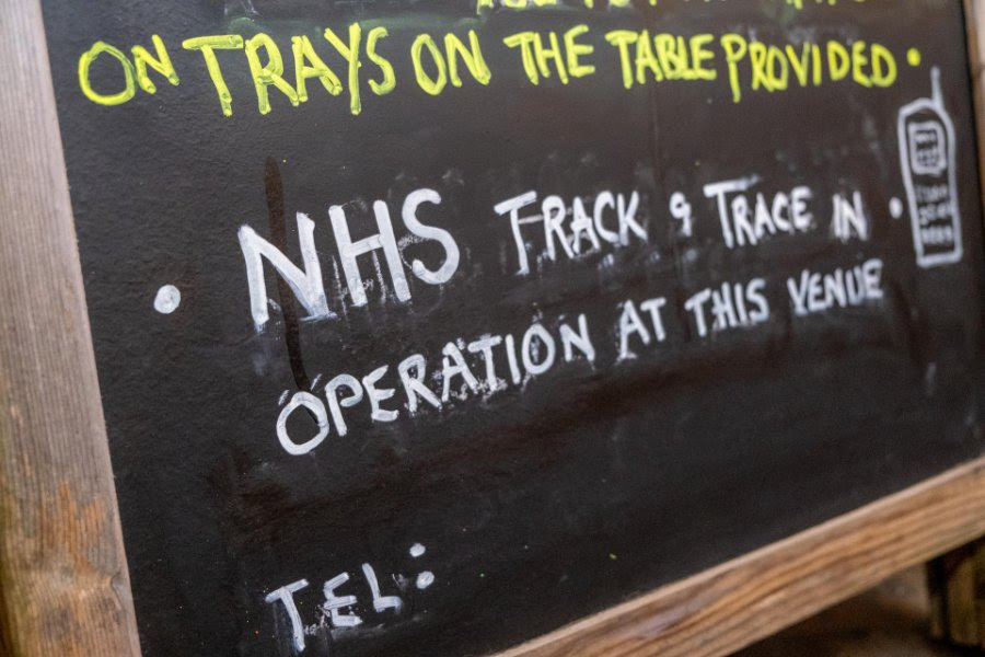 Track and Trace instructions on a menu board