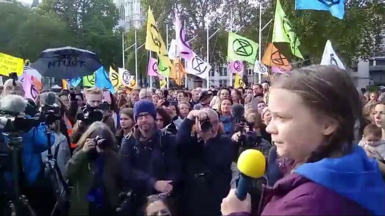 Greta launches Extinction Rebellion in London